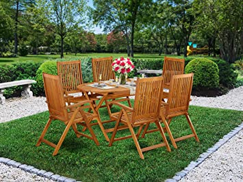 Tremendous Amazon Com East West Furniture Dicn7Nc5N This 7 Pc Acacia Machost Co Dining Chair Design Ideas Machostcouk