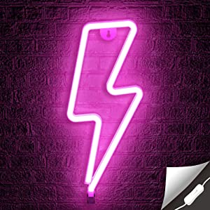 Lumoonosity Lightning Bolt Neon Signs, USB Powered Pink Led Lightning Bolt Light with On/Off Switch, Lightning Neon Sign for Wall Decor, Hanging Led Signs, Neon Lights for Bedroom, Gaming Room Setup