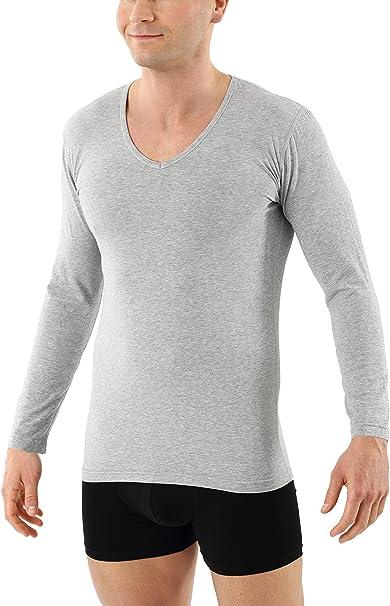 ALBERT KREUZ Camiseta Interior de Manga Larga Cuello en V de algodón orgánico elástico Gris: Amazon.es: Ropa y accesorios