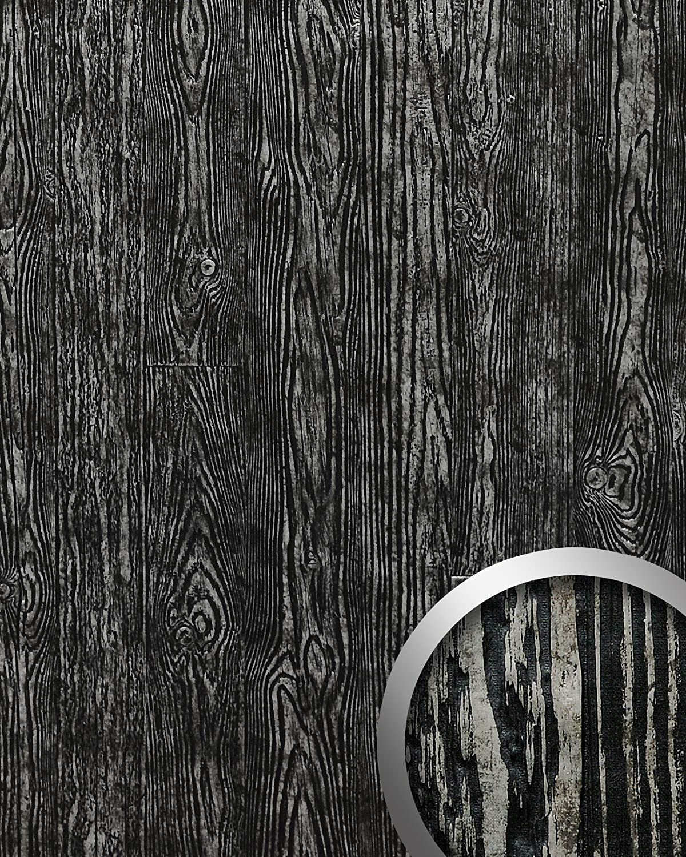 Panel decorativo autoadhesivo de diseño madera con relieve 3D WallFace 14806 WOOD Color negro plata vintage 2,60 m2: Amazon.es: Bricolaje y herramientas