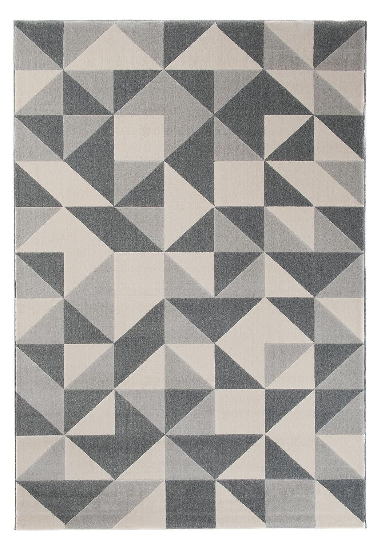 Carpeto Modern Teppich Grau 140 x 200 cm Geometrische Muster Canvas Kollektion