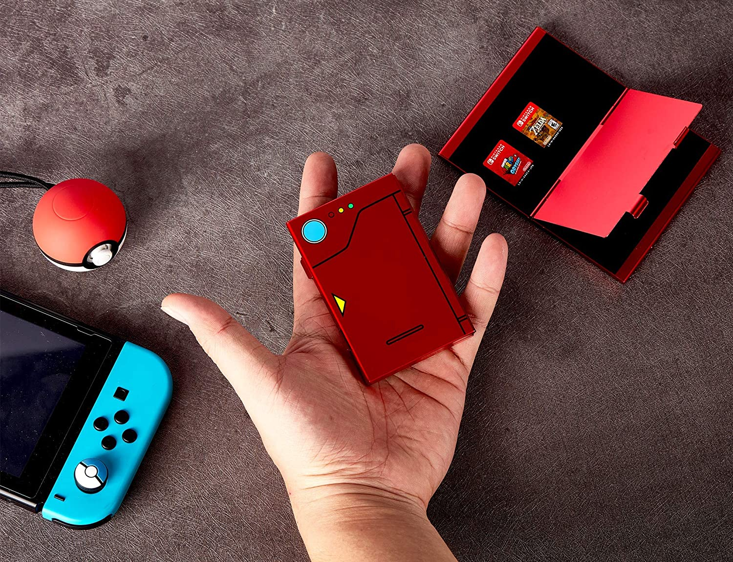 Funlab Premium Game Card Case for Nintendo Switch, Portable Aluminum Games Storage with 6 Cards Holder for Travel Carrying – Red: Electronics