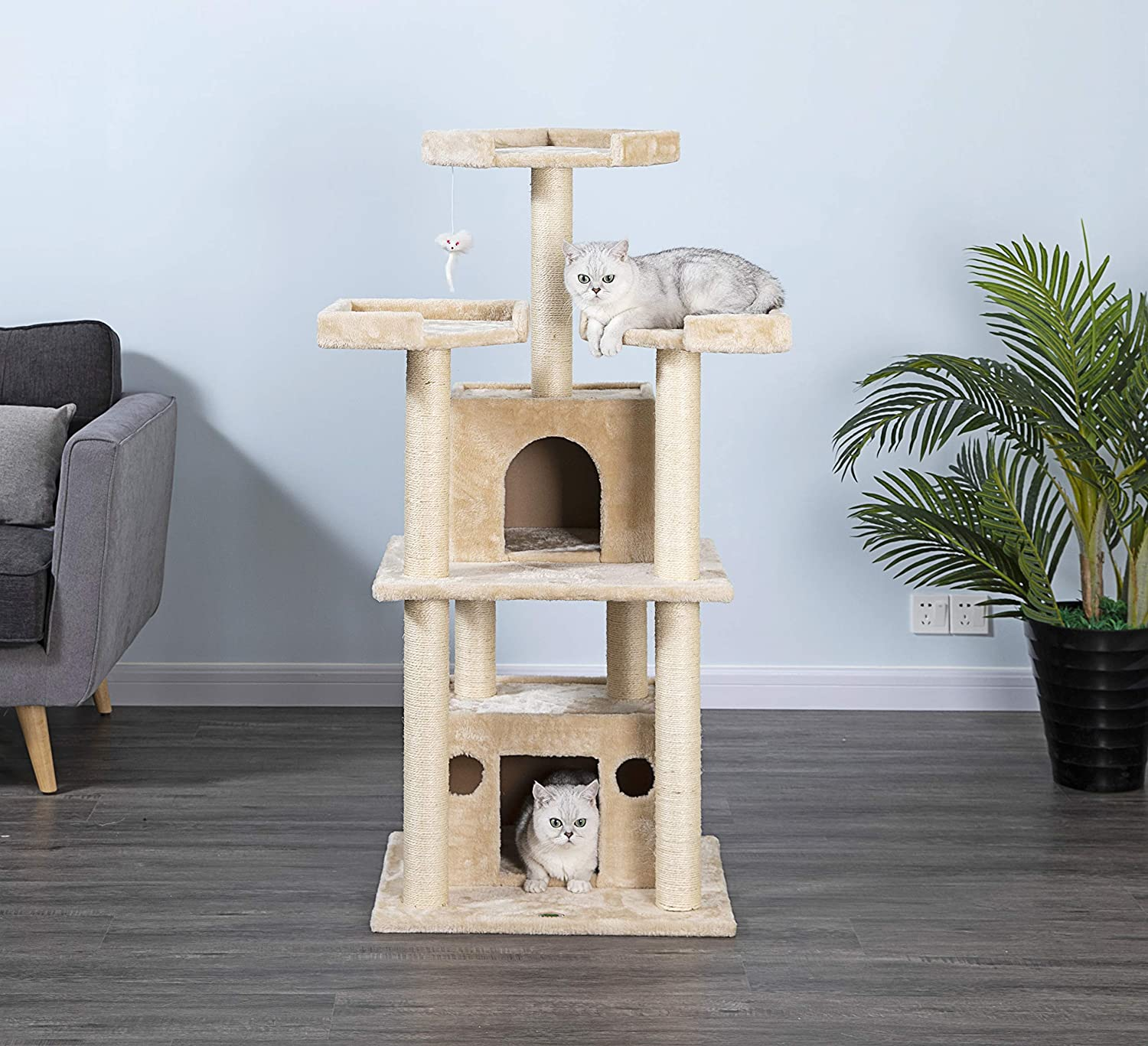 "Go Pet Club 51"" Tall Beige Cat Tree Furniture"