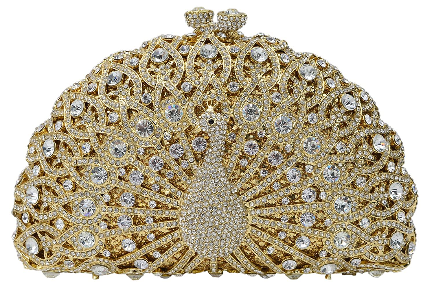 ILILAC Luxury Crystal Clutch 3D Peacock Rhinestons Evening Bag For Party and Wedding