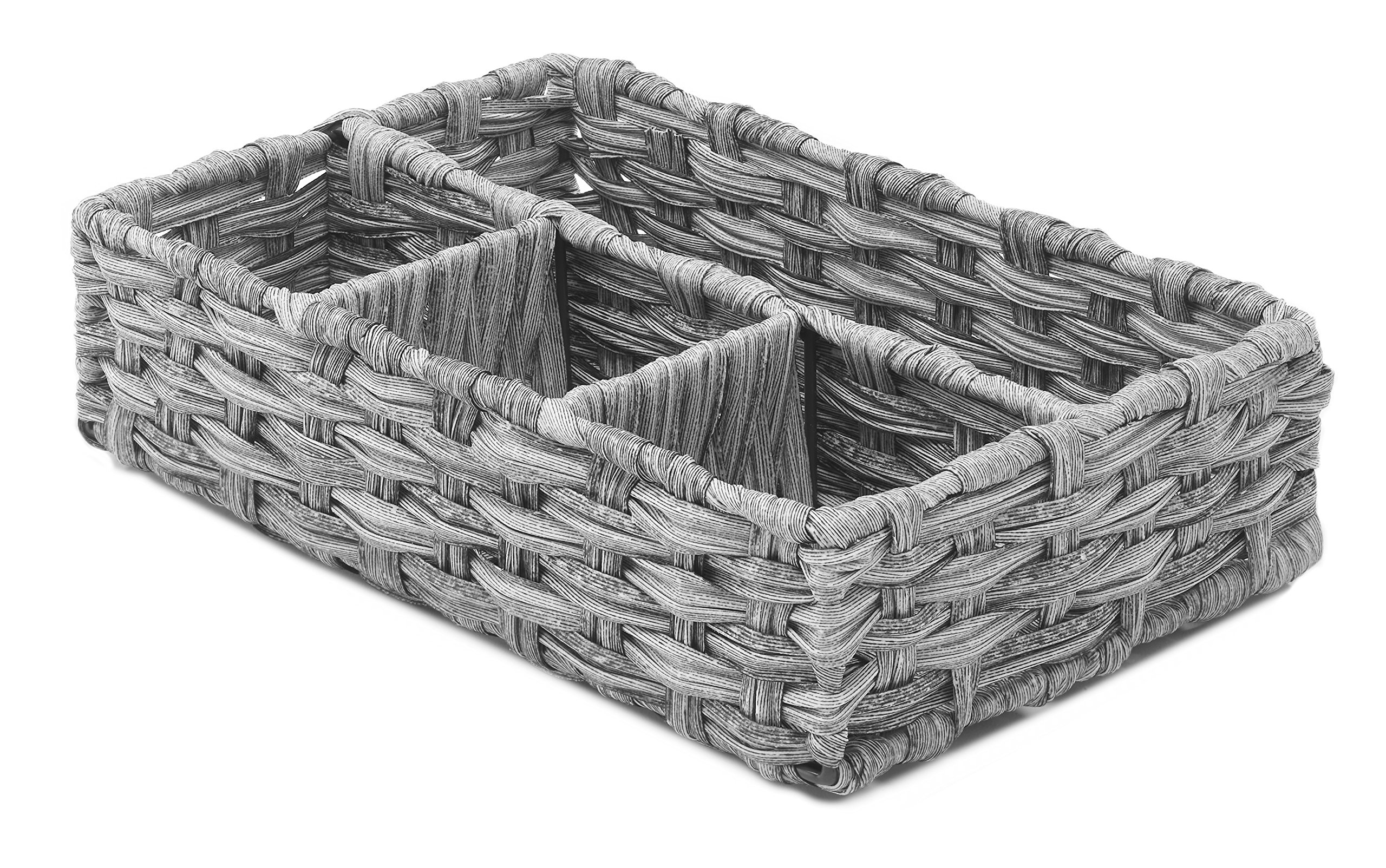 Whitmor Split Rattique 4 Section Tray Gray Wash by Whitmor