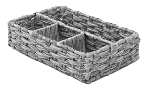 Whitmor Split Rattique 4 Section Tray Gray Wash