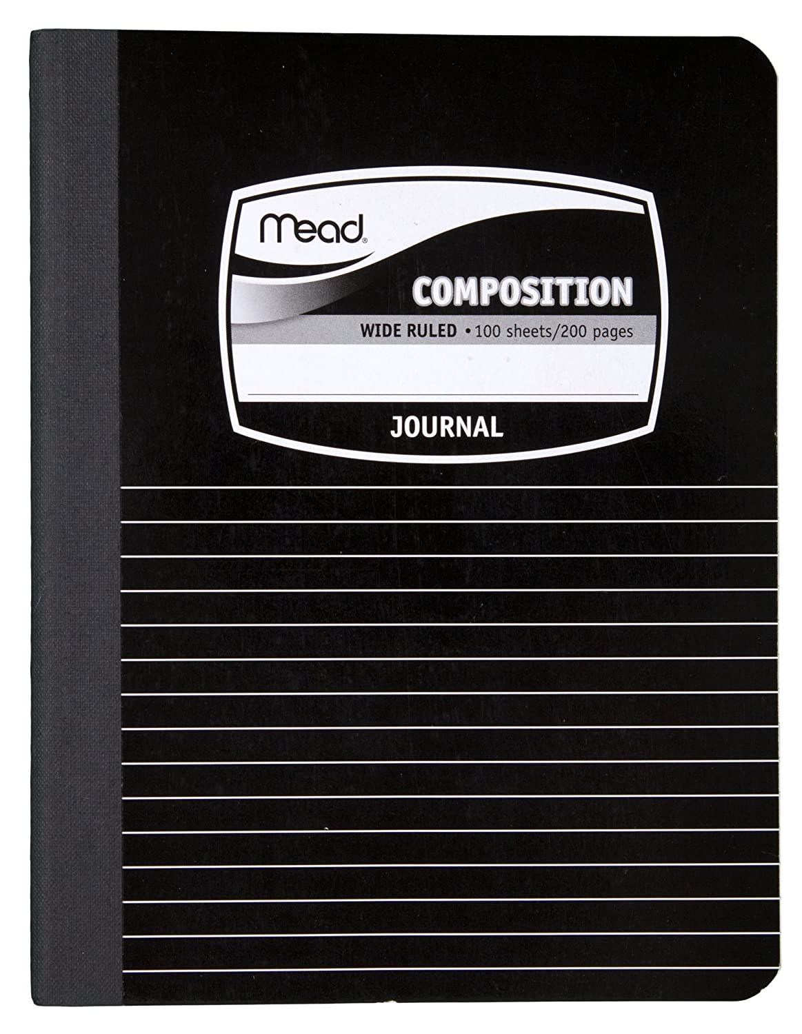 Mead Composition Book//Notebook 9-3//4 x 7-1//2 Black 09920 100 Sheets Wide Ruled Paper