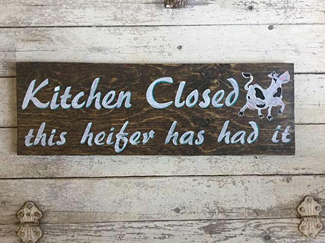 wood farmhouse funny kitchen quotes wall decor cow sign kitchen is closed this heifer has - Funny Kitchen Quotes