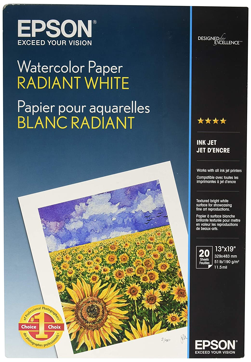 20sht 13x19 Watercolor Radiant White Paper Epson - Supplies Paper S041351 Office Supplies