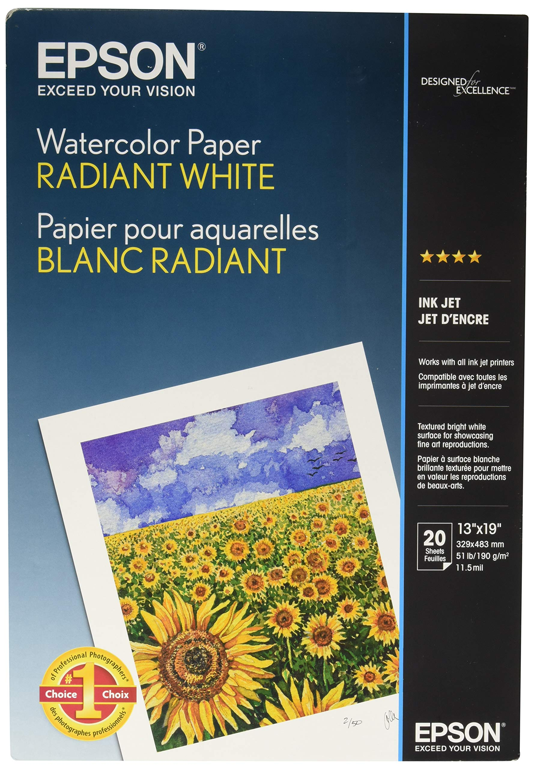 Epson Watercolor Paper Radiant, White, 13 x 19 Inches, 20 Sheets (S041351) by Epson