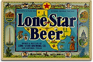 product image for Lantern Press Lone Star Brand, San Antonio, Texas, Beer Label (12x18 Aluminum Wall Sign, Wall Decor Ready to Hang)
