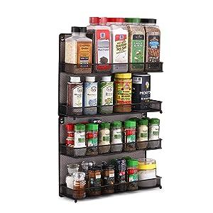 CAXXA 2 PK 2 Tier Mesh Kitchen Counter-top or Wall Mount Spice Rack Jars Storage Organizer, Bronze