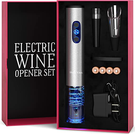 Electric Wine Opener Set with Charger and Batteries- Mother's Day Gift Set - Birthday Wedding Anniversary Holiday Kit with Batteries and Foil Cutter Uncle Viner G105