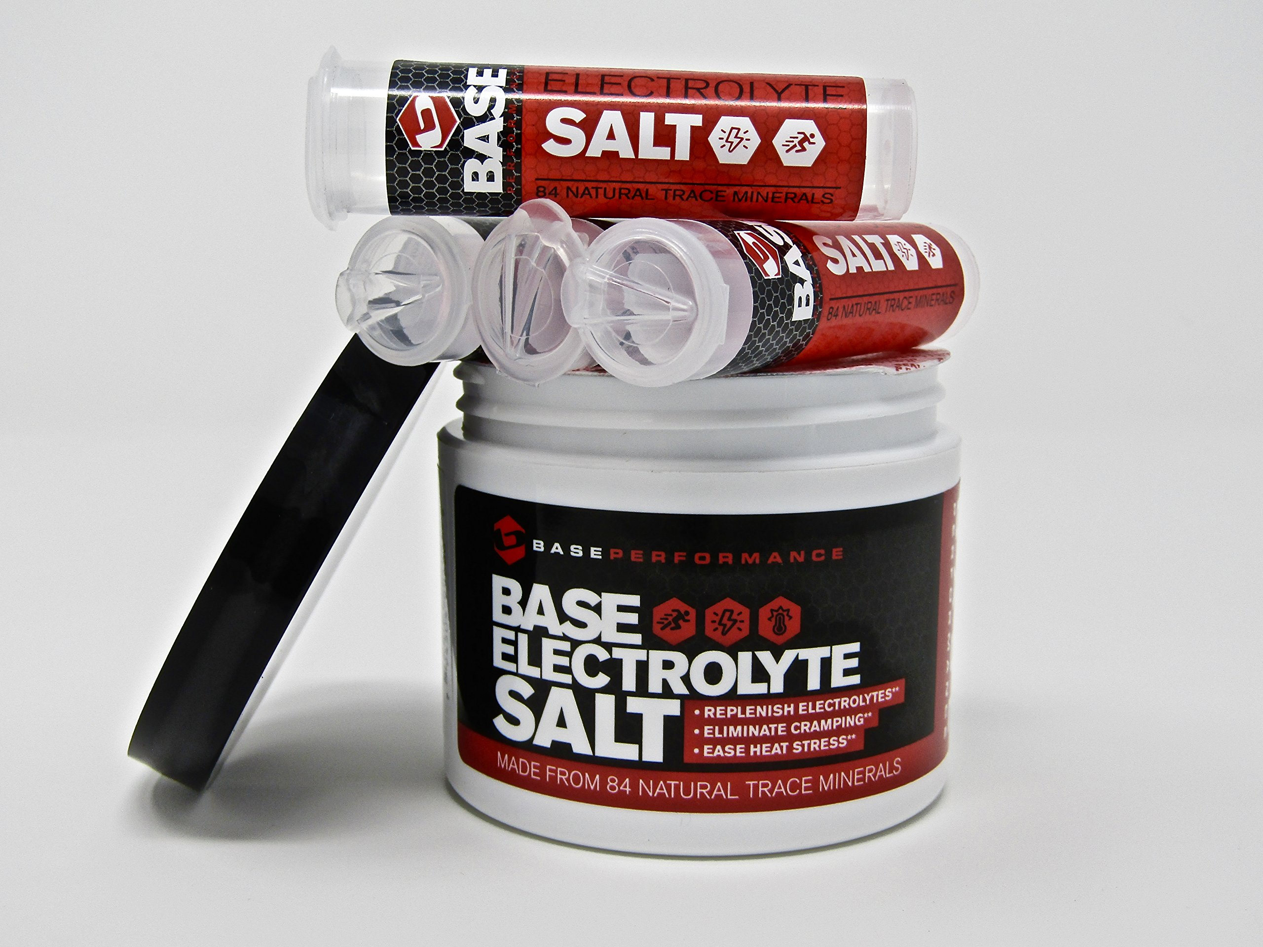 BASE Performance electrolyte salt   226 Servings tub with 4 refillable race vials. Prevent cramping and gastrointestinal distress using an all natural formula rapidly absorbed.