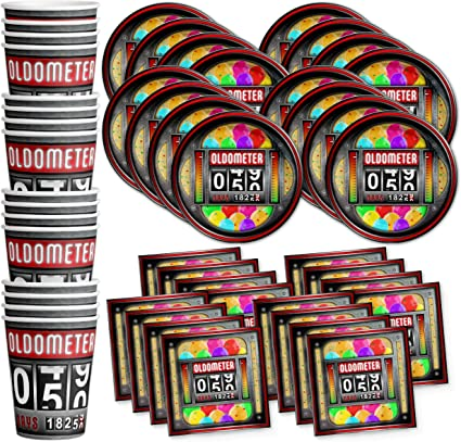 Amazon Com Old Meter Funny 50th Birthday Party Supplies Set Plates Napkins Cups Tableware Kit For 16 Toys Games