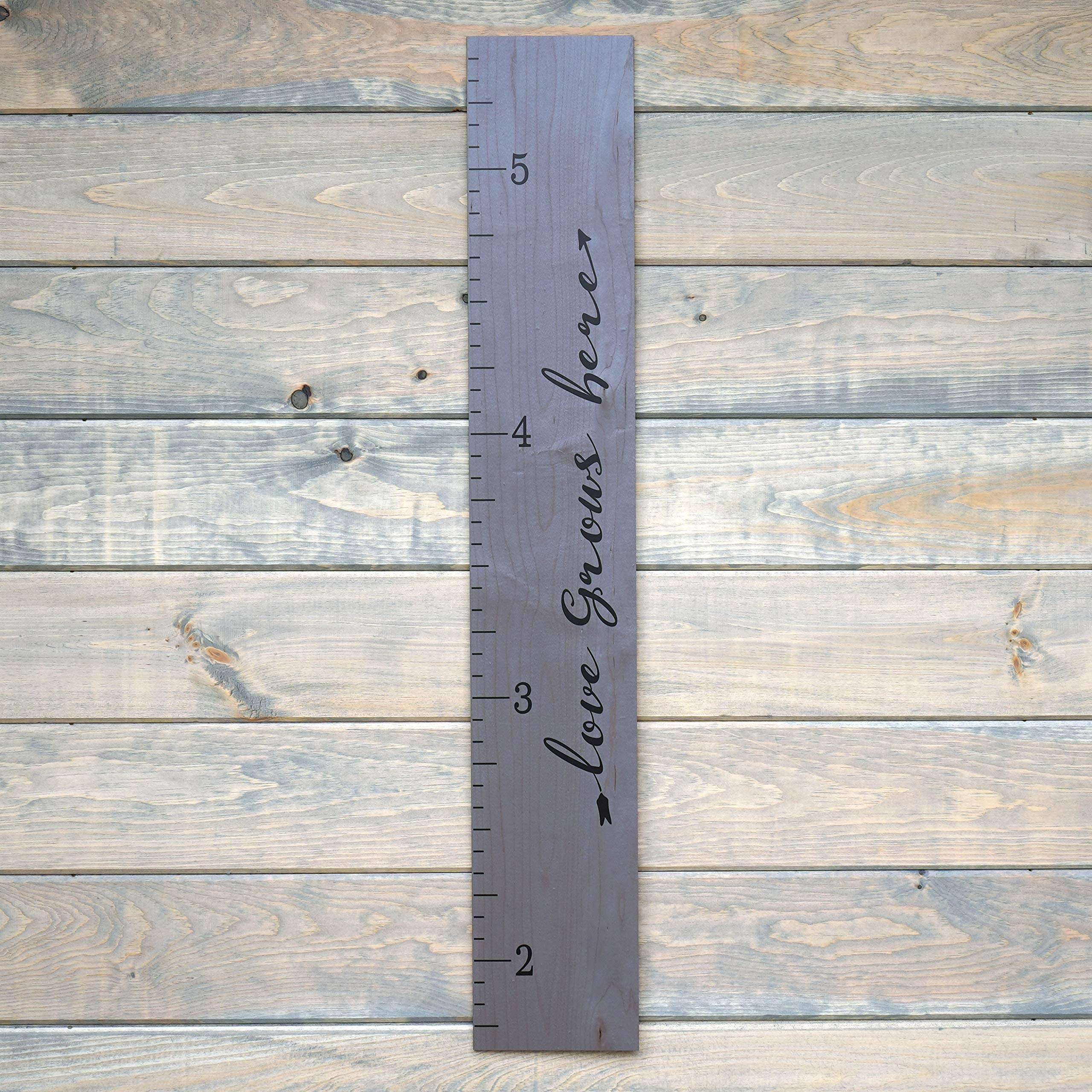 Growth Chart Art | Love Grows Here Wooden Height Chart | Tribal Wood Growth Chart for Babies, Kids, Boys & Girls (Script Gray)