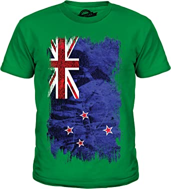 Nueva Zelanda Grunge Bandera – Unisex niños camiseta de manga corta Top – Niño/Niña/Infantil/Bebés Verde Fizzy Apple 2 años: Amazon.es: Ropa y accesorios