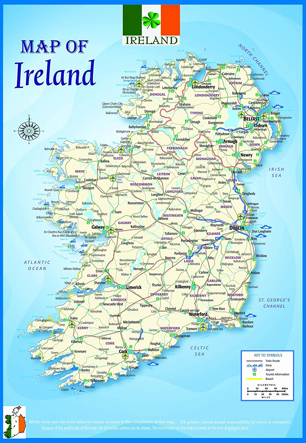UK AND IRELAND POLITICAL MAP POSTER  MAXI SIZE EDUCATION BRAND NEW STUDY AID