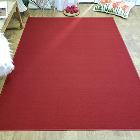 Amazon Com Area Rug 3x5 Solid Red Kitchen Rugs And Mats Rubber