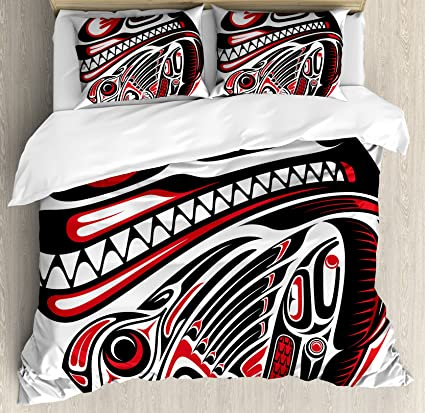 Amazon Com Ambesonne Tribal Duvet Cover Set Queen Size Haida Style