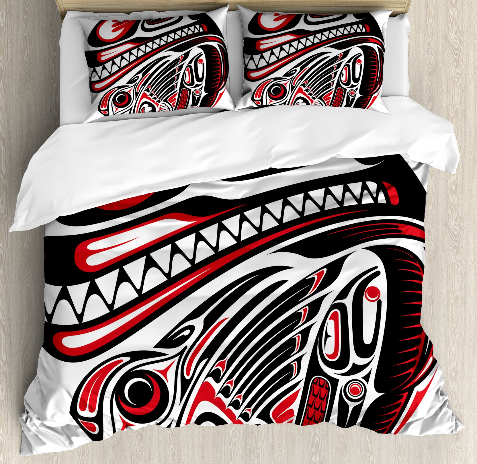 Ambesonne Tribal Duvet Cover Set Queen Size, Haida Style Animal Art Wild Ethnic Eagle and Killer Dog with Sharp Teeth Print, Decorative 3 Piece Bedding Set with 2 Pillow Shams, White Red Black