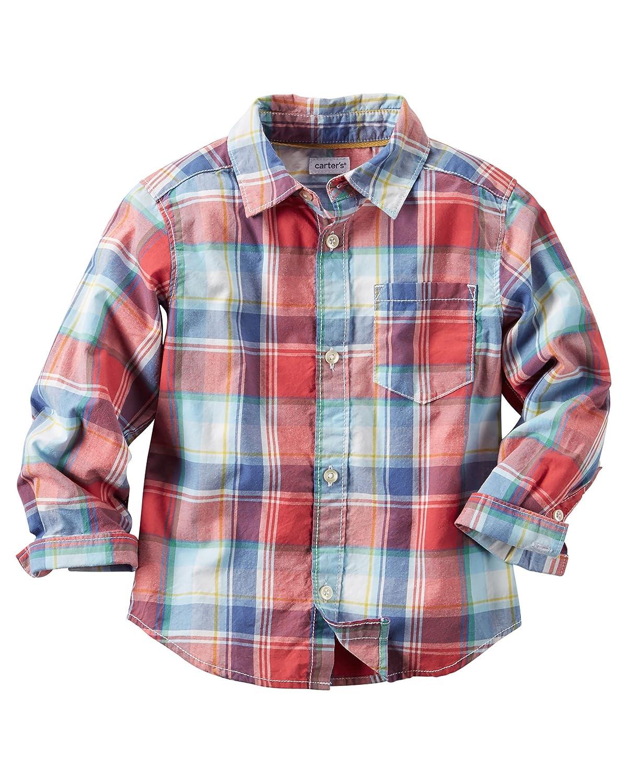 Carter's Boy's Plaid Button-Front Shirt, Red, 2t