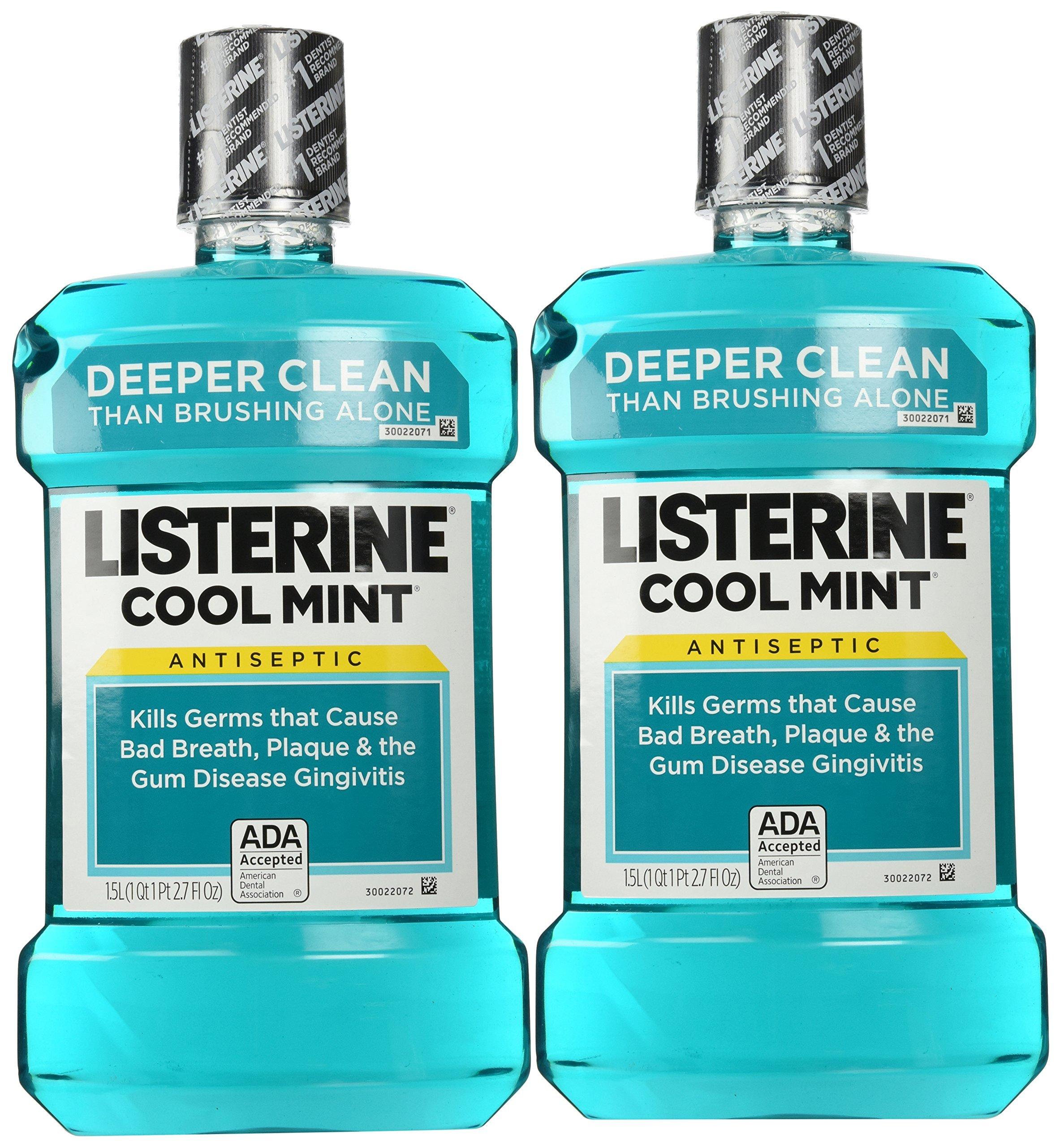 Listerine Mint (1.5l) Size 50.7z Listerine Cool Mint Antiseptic Mouthwash (Pack of 2)