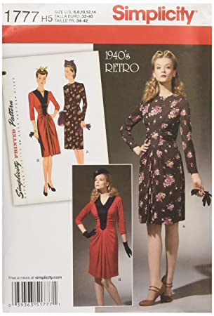 Simplicity Muster 1777.h5 6–14 Schnittmuster 1940 \'s Vintage Kleid ...