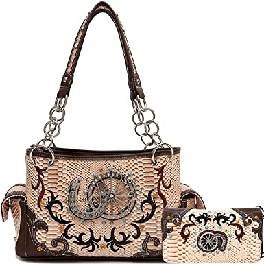ce5c0fabb2e9 Amazon.com: Cowgirl Trendy Western Concealed Carry Python Horseshoe ...