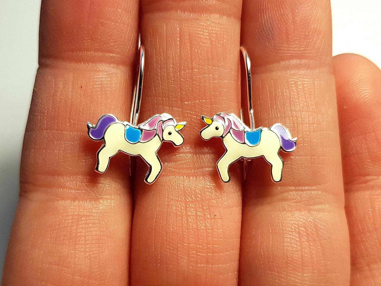 Unicorno Viola Un paio di orecchini in argento Sterling