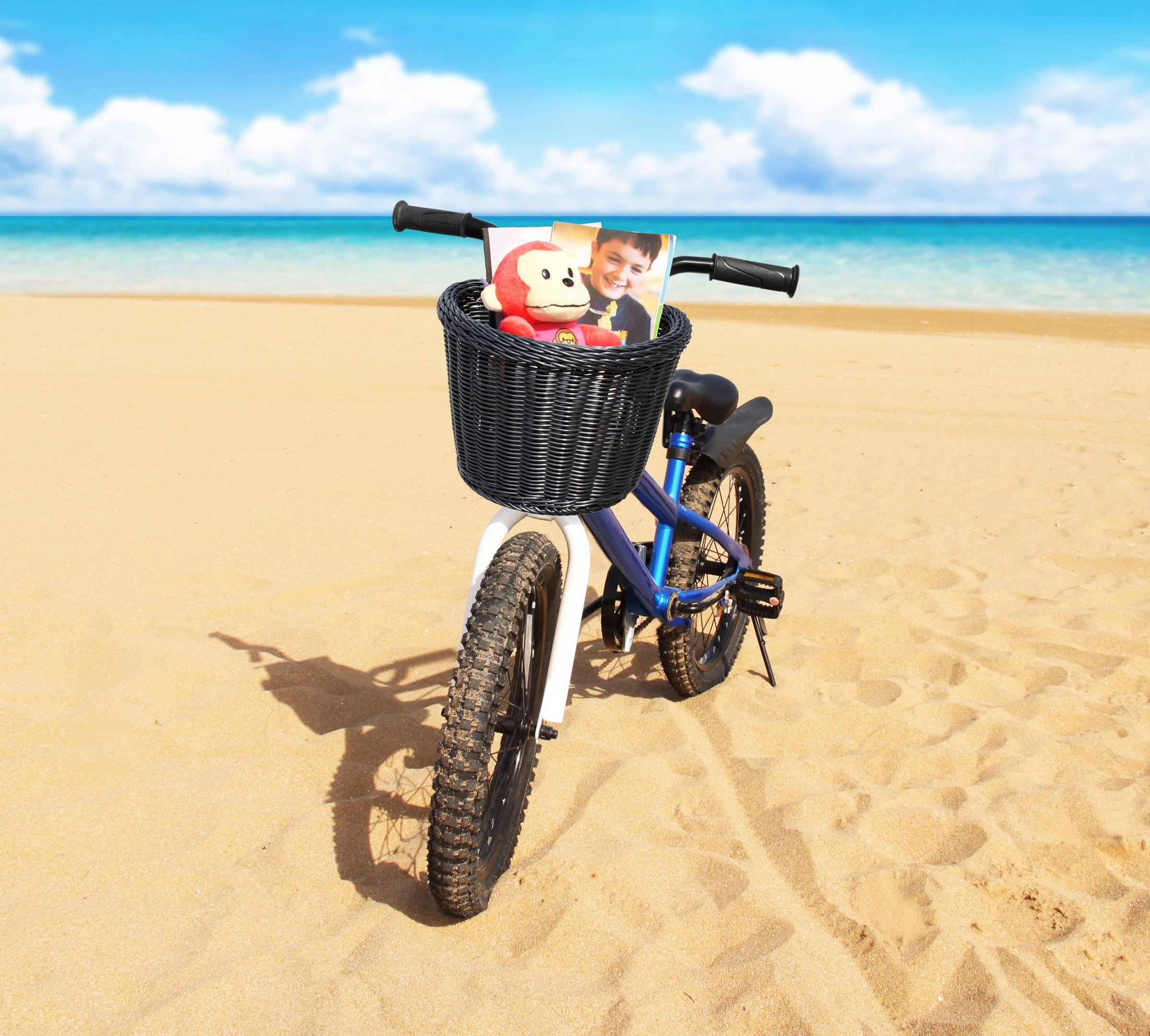 Colorbasket Front Handle Bar Junior Bike Basket, Water Resistant, Leather Straps