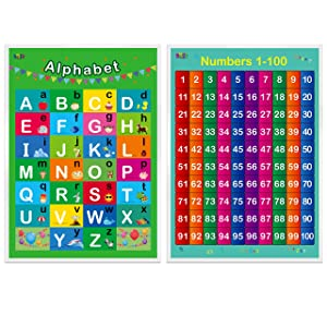 "Alphabet, Numbers 1-100,2 Laminated Educational Posters for Toddlers,17"" X 22"""