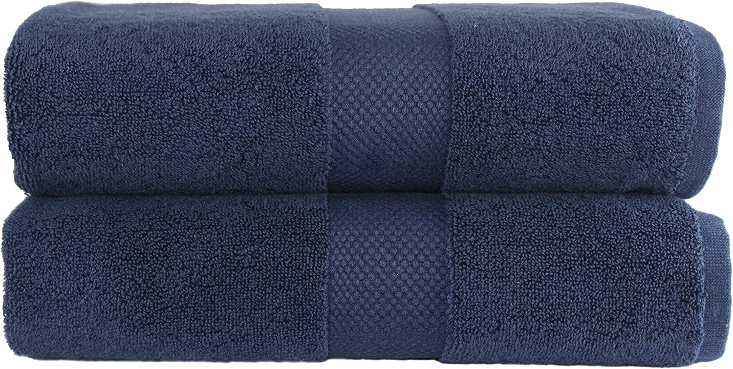 COTTON CRAFT Hotel Luxury Spa Set of 2 Bath Sheets, Oversized Ringspun Cotton 700GSM, 40 inch x 80 inch, Navy Blue: Home & Kitchen