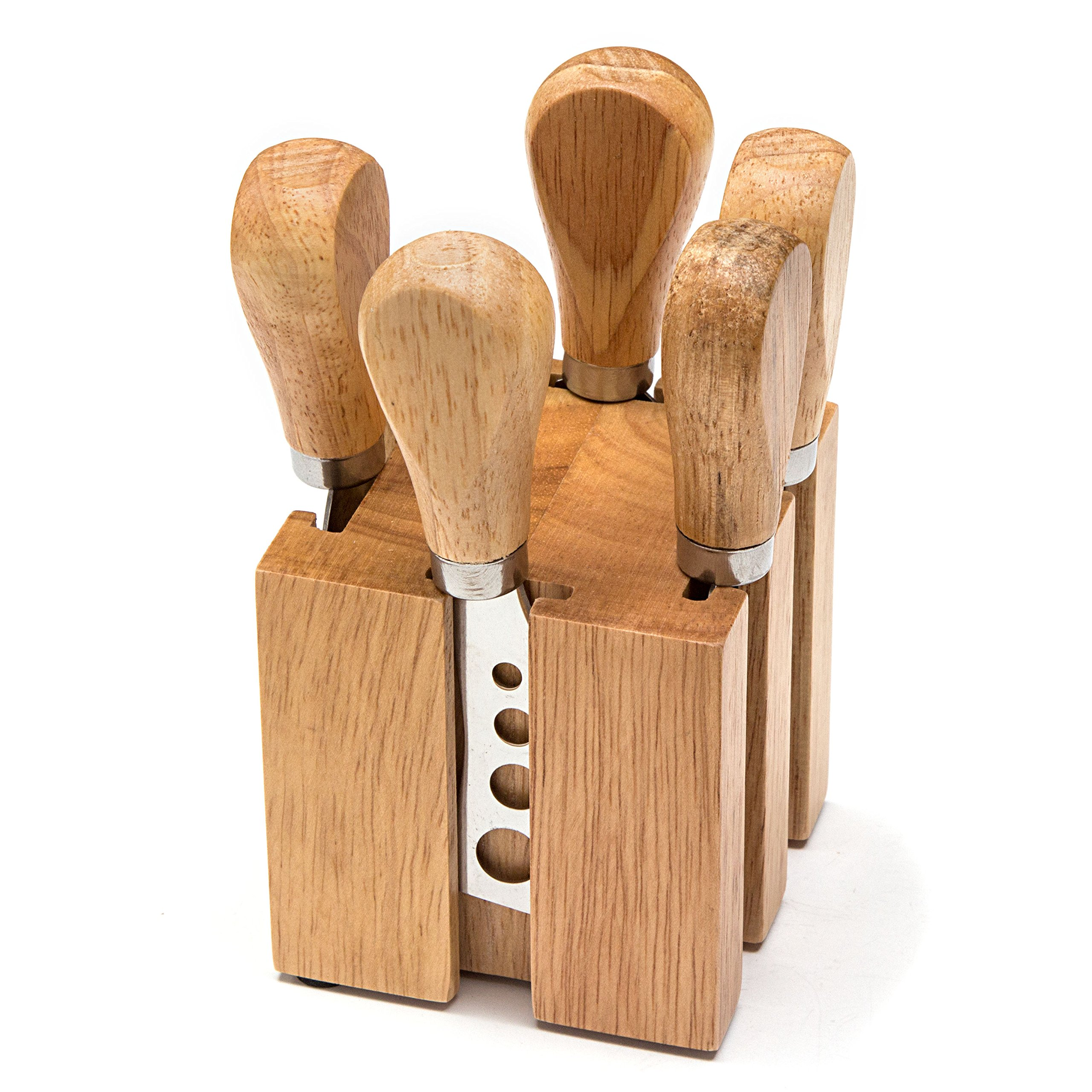HULLR Premium Stainless Steel Cheese Knives Set Collection in Wood Cheese Block 6-Piece Set