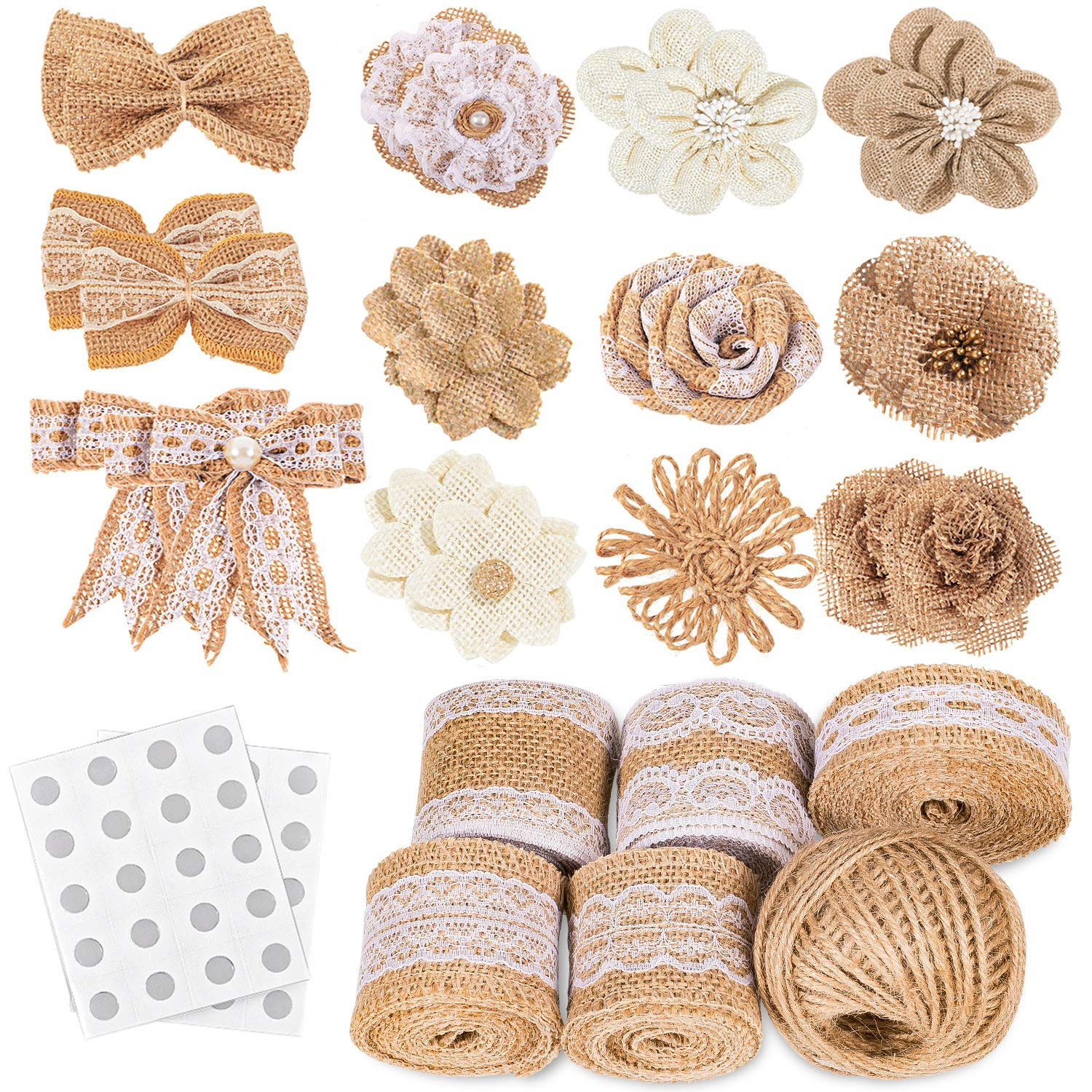 Whaline 30PCS Burlap Flowers Set, Include 5 Lace Burlap Ribbon Rolls, 24 Handmade Burlap Flowers and Bowknots, 1 Twine Ribbon and Glue Dots for Wedding Party Decor Home Embellishment DIY Crafts by Whaline