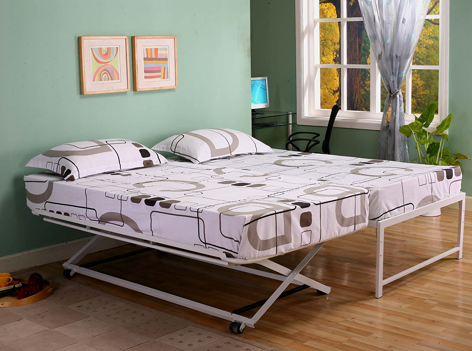 Amazon.com: Kings Brand Furniture Twin Size Steel Day Bed (Daybed) Frame  with Pop Up Trundle & Mattresses: Kitchen & Dining