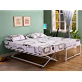 39'' / Twin Size White Steel High Riseer Bed Frame