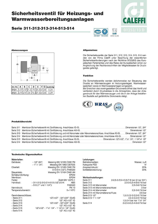 Caleffi 313580 Soupape de S/écurit/é 3//4 F x 3//4 F 8 Bar avec Manom/ètre