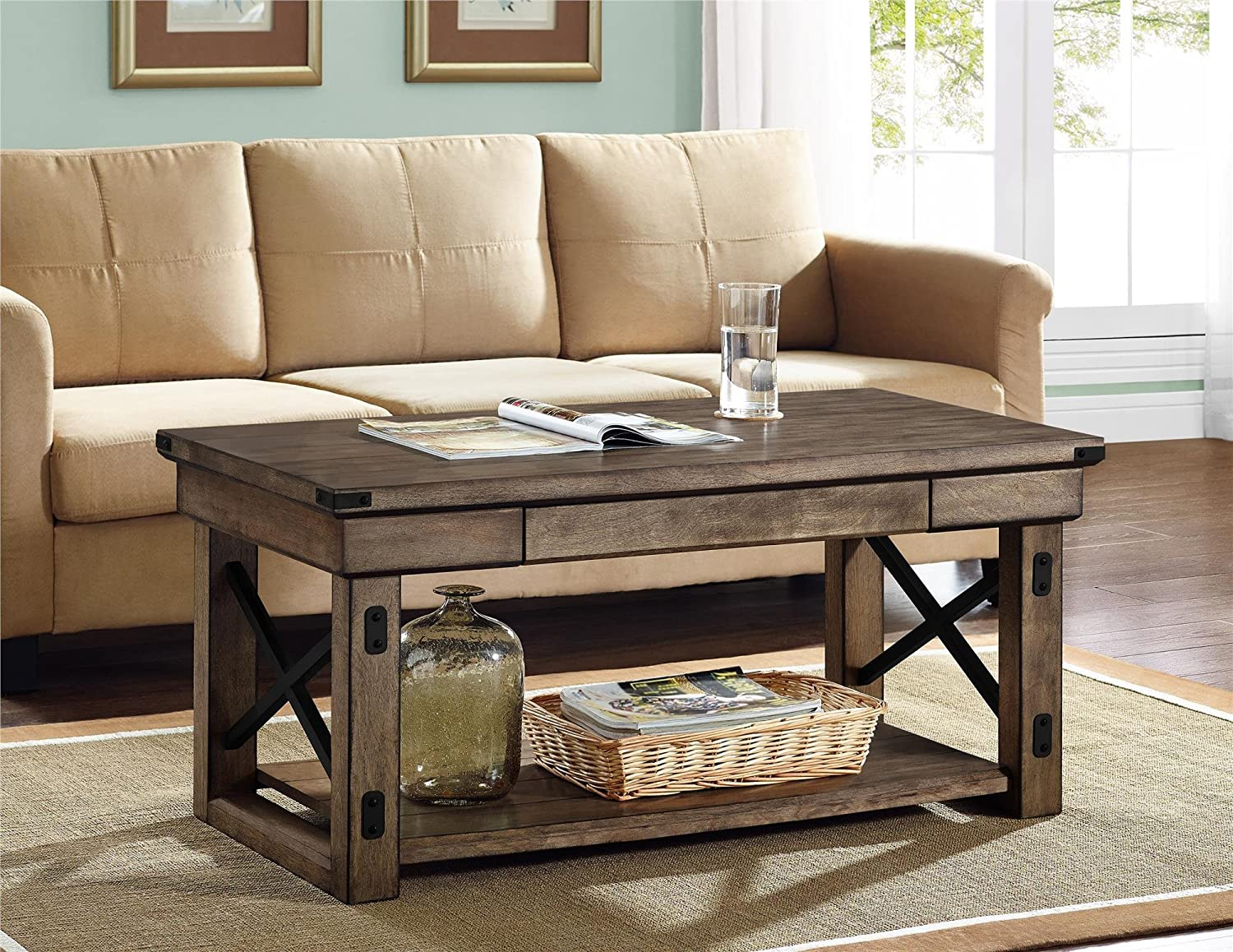 Amazon.com: Altra Wildwood Wood Veneer Coffee Table, Rustic Gray: Kitchen U0026  Dining