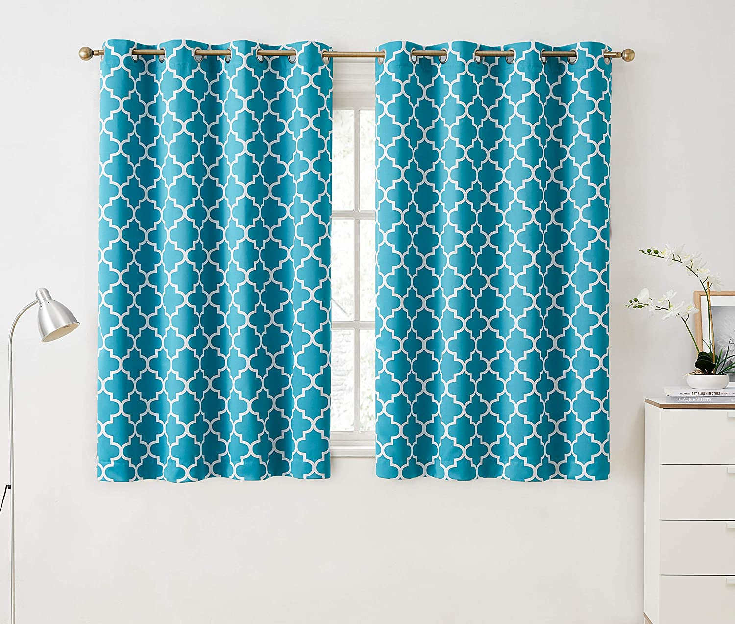 """HLC.ME Lattice Print Decorative Blackout Thermal Insulated Privacy Room Darkening Grommet Window Drapes Curtain Panels for Bedroom - Teal Blue - 52"""" W x 63"""" L - Set of 2 Panels"""