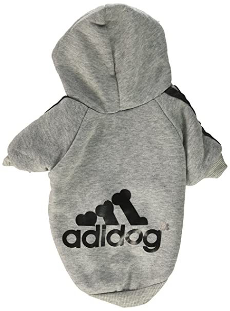 Adidog Grey Dog Sweatshirt Hoodie Jacket - For the Best Fashion Pets (M)