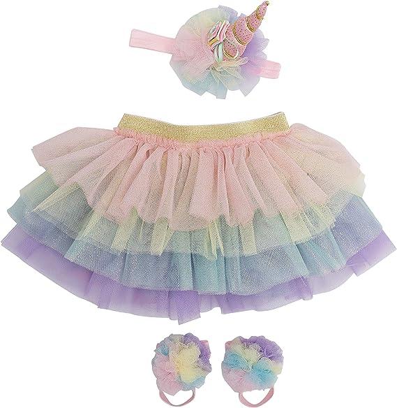 Ikerenwedding Baby Girls Tutu Skirt 0 to 18 Months Headband Set for Photography