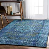 nuLOOM 200MCGZ01C-508 Traditional Vintage Inspired Overdyed Fancy Rug, 5' x 8', Blue