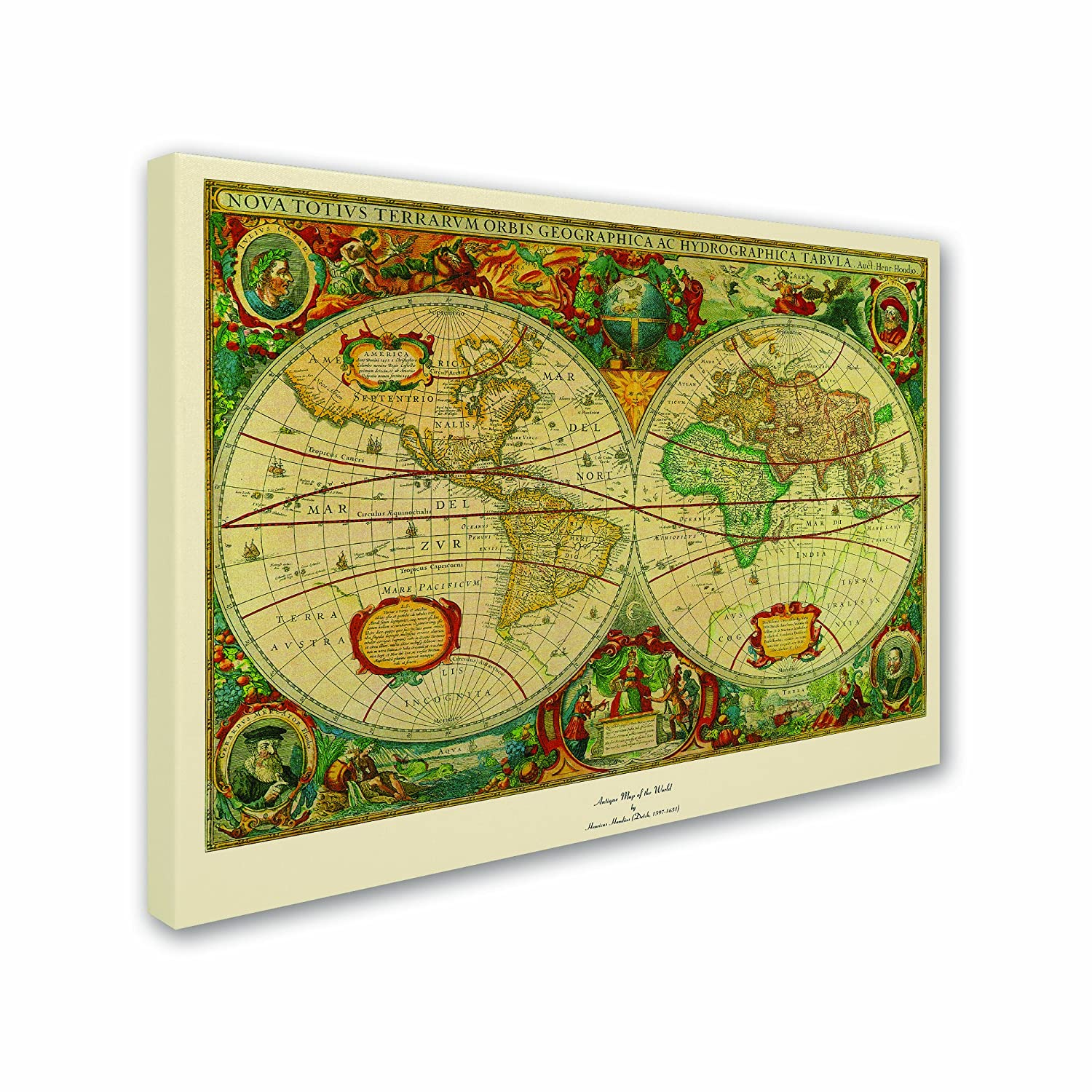 Amazon.com: Trademark Fine Art Old World Map Painting Canvas Wall ...