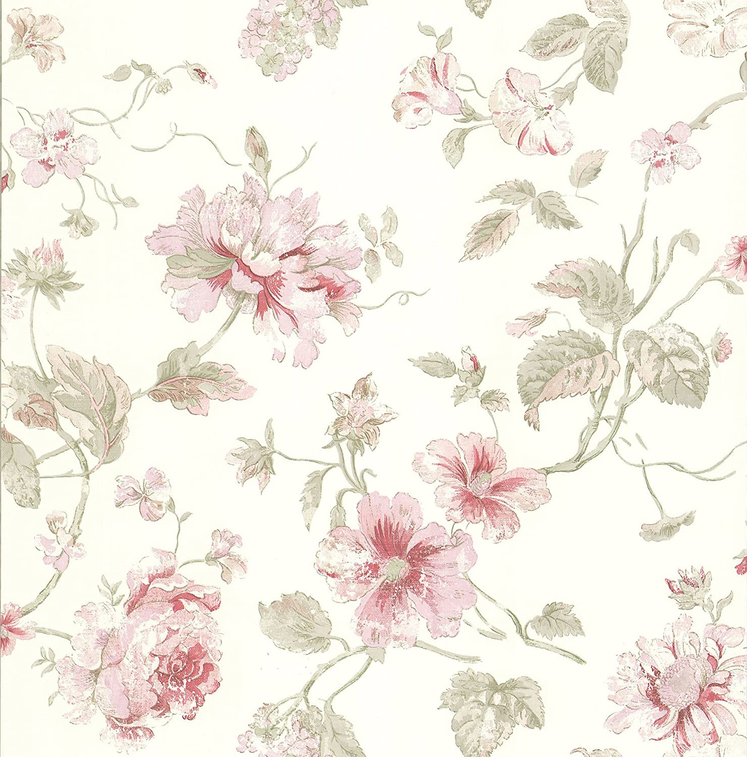 Brewster 428 6605 Madison Florals Maxwell Rose Wallpaper 205 Inch