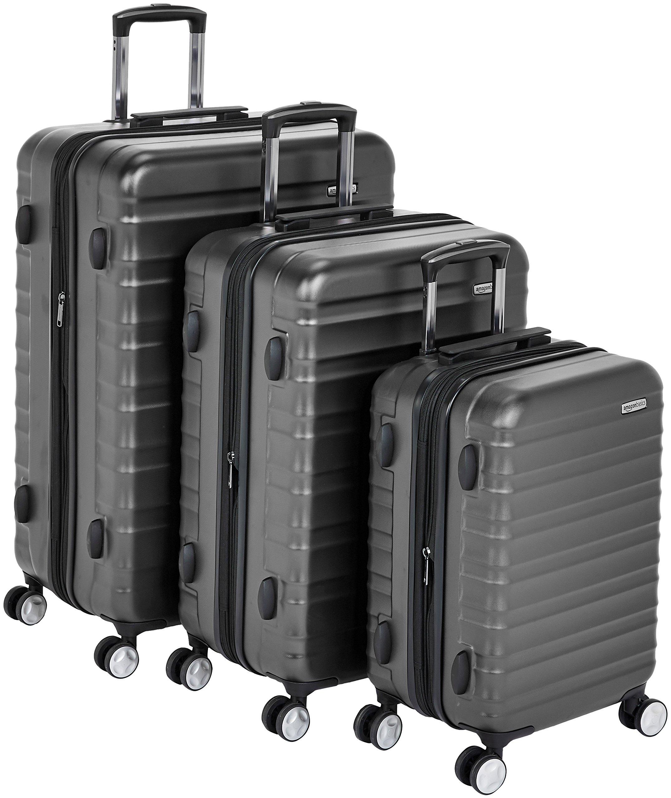 AmazonBasics Premium Hardside Spinner Luggage with Built-In TSA Lock - 3-Piece Set (20'', 24'', 28''), Black