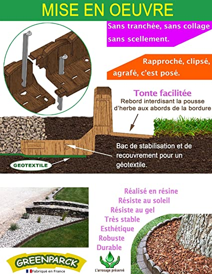 greenparck - l0600 m - bordes de jardín de resina Composite marrón ...