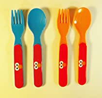 Set of 4 Sesame Street Elmo Plastic Forks and Spoons