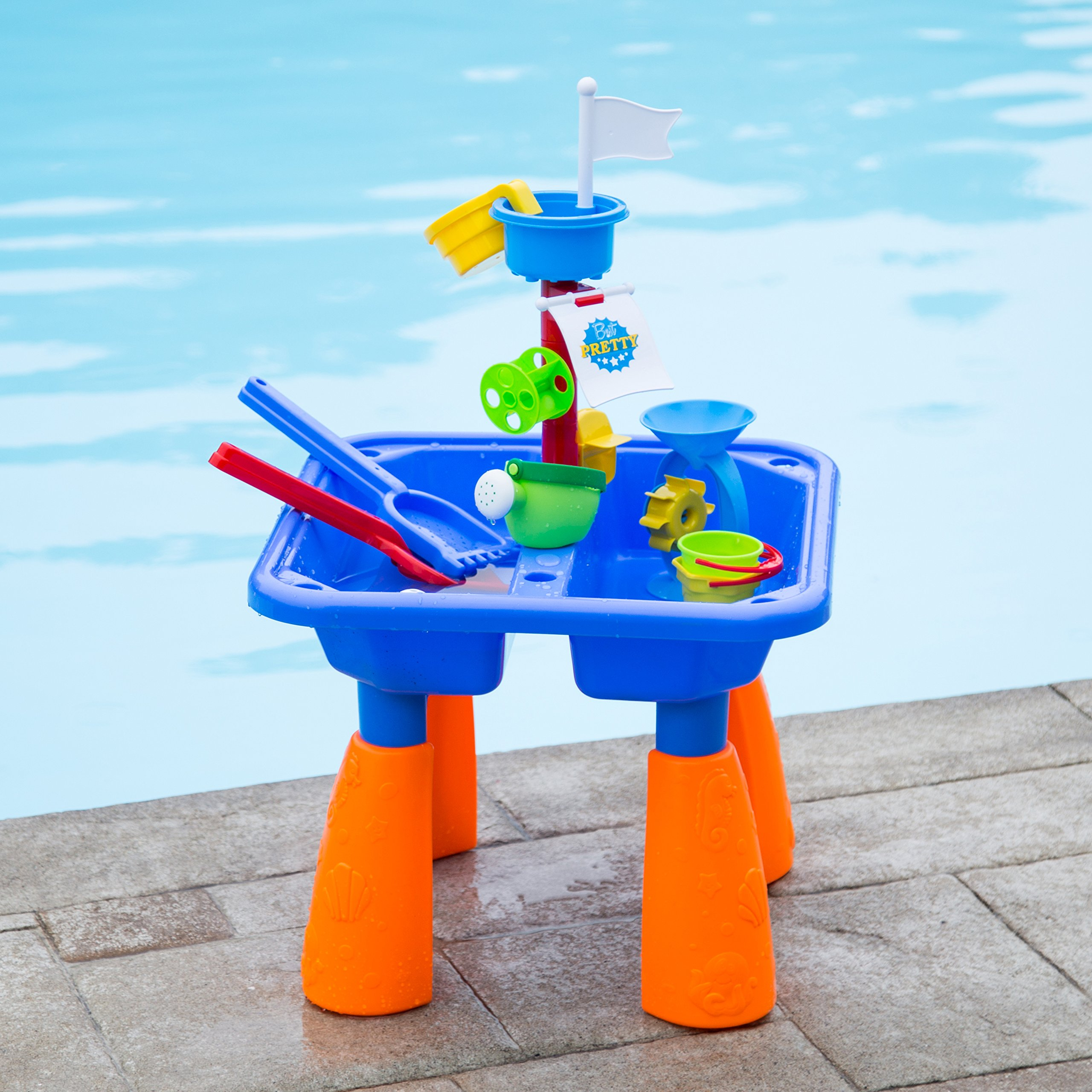 Next Milestones Kids Sand and Water Table Play set, Beach Toys Sandbox Include Sand Bucket, Water Can, Shovel, Sand Rake, Sand Mold and more