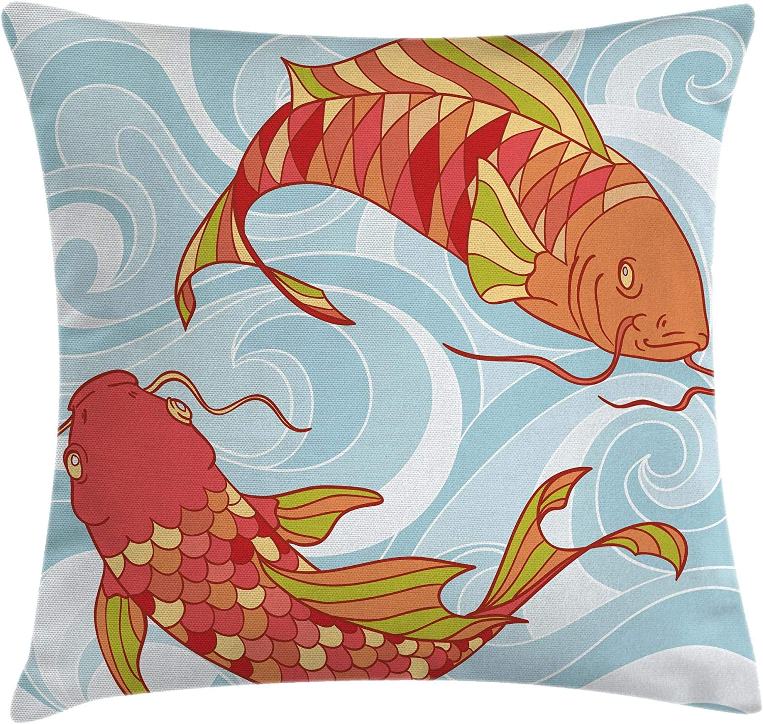 Amazon Com Ambesonne Koi Fish Throw Pillow Cushion Cover Hand Drawn Colorful Koi And Swirled Sea Waves Japanese Oriental Art Design Decorative Square Accent Pillow Case 18 X 18 Orange Blue Home